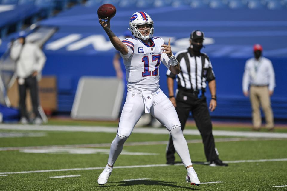 Josh Allen led the Bills on a game-winning touchdown drive to escape an embarrassing blown lead against the Rams. (AP Photo/Adrian Kraus)