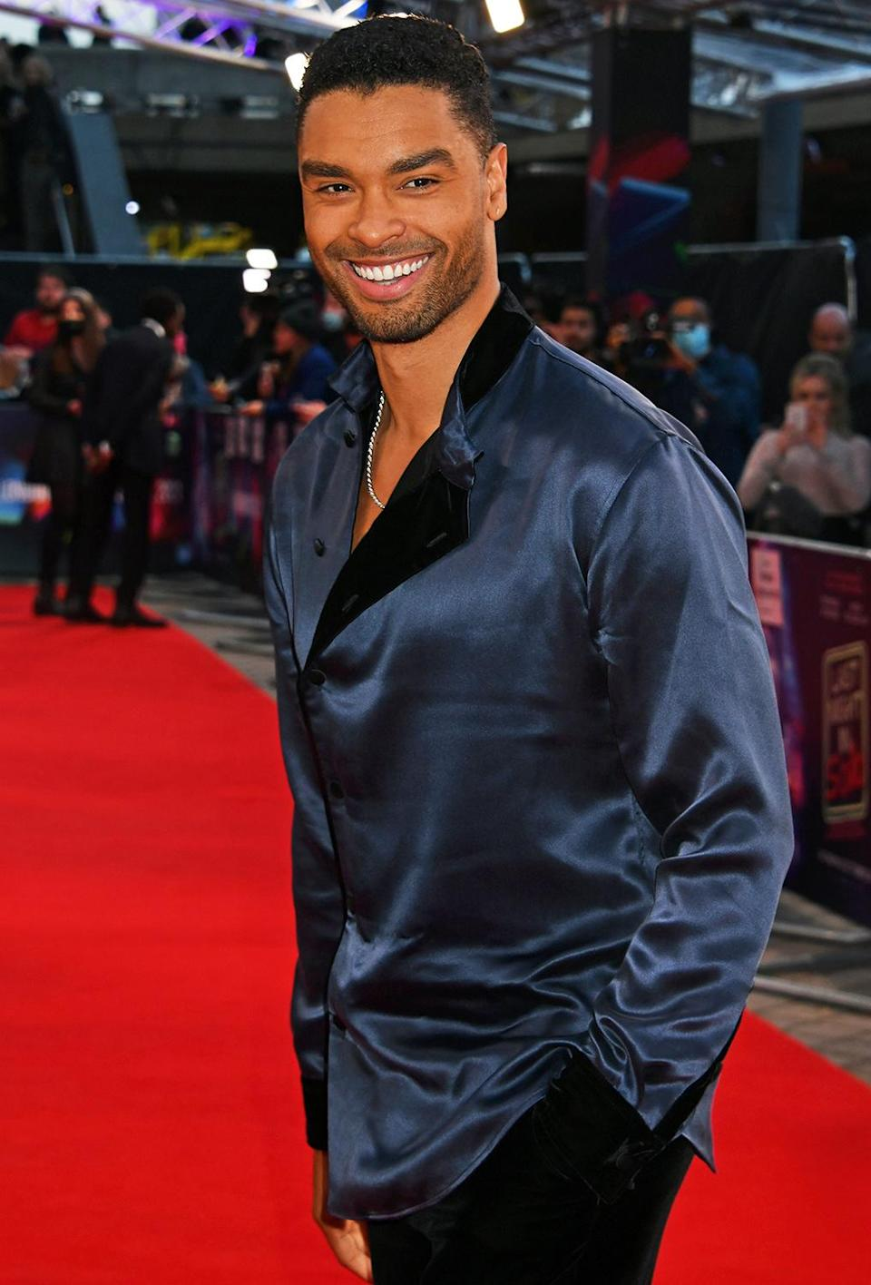 <p>Regé-Jean Page looks handsome in blue while attending the premiere of <em>Last Night in Soho</em> at the London Film Festival on Oct. 9.</p>