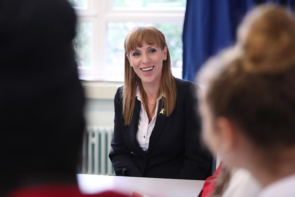 Shadow education secretary Angela Rayner during a visit to Ursuline High School and Sixth Form College in Wimbledon.