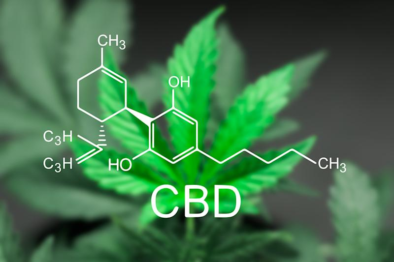 Chemical formula for CBD in the forefront with a blurry image of a marijuana leaf in the background.