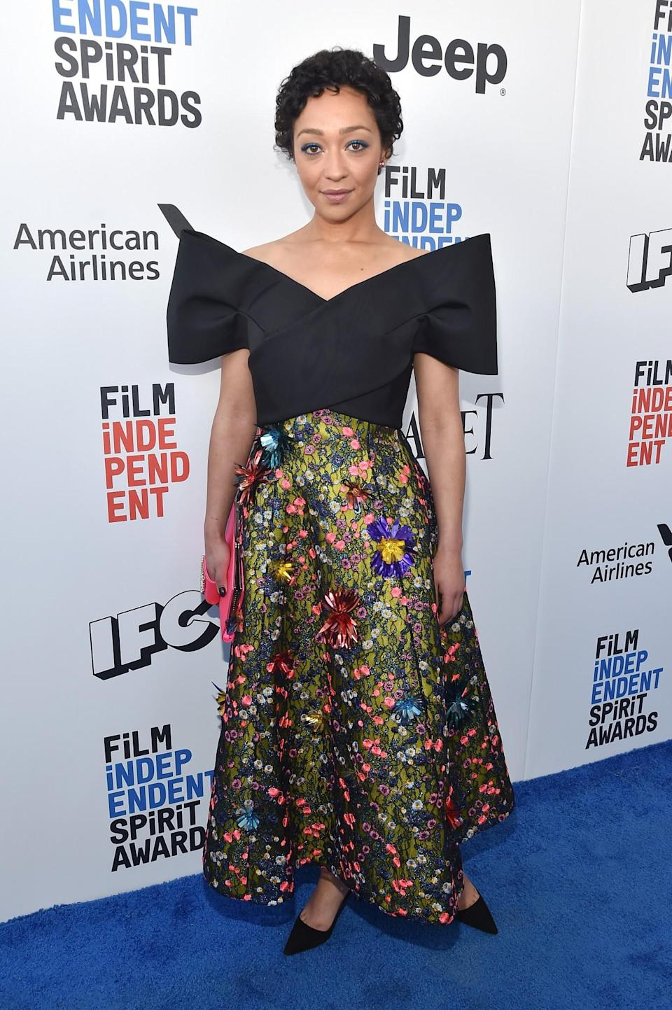 <p>Actress and style inspo Ruth Negga has rocked several red carpet looks with shoulder pads in recent months. [Photo: Getty] </p>