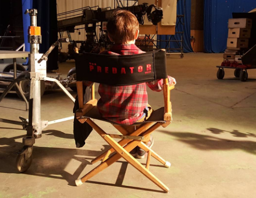 Jacob Tremblay on the set of 'The Predator' (Photo: @JacobTremblay/Twitter)