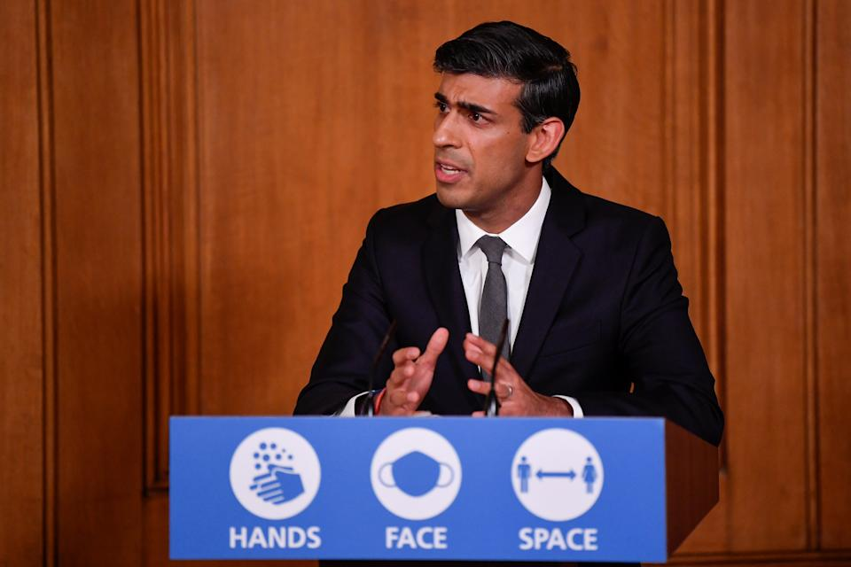 Britain's Chancellor of the Exchequer, Rishi Sunak, speaks during a virtual news conference on the ongoing situation with the coronavirus disease (COVID-19), at Downing Street, London, Britain October 12, 2020. REUTERS/Toby Melville/Pool