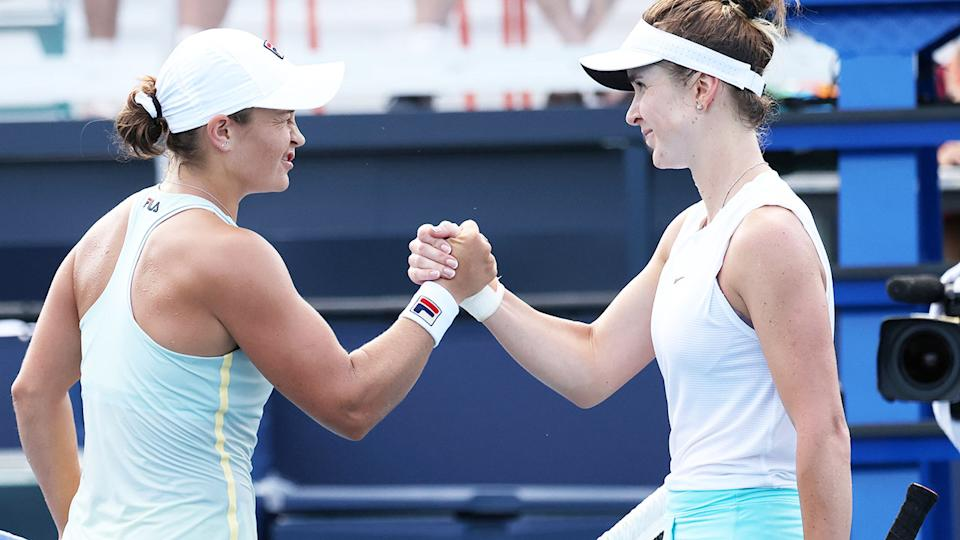 Ash Barty and Elina Svitolina, pictured here after their Miami Open semi-final.