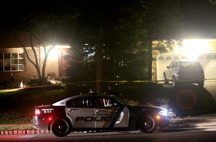 Police outside the home of the federal judge, Esther Salas, in North Brunswick, N.J., early on Monday, July 20, 2020. (Yana Paskova/The New York Times)