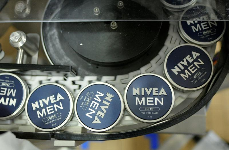 FILE PHOTO: Nivea tins on a Beiersdorf production line in Hamburg