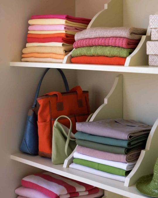 <p>Adding DIY wooden shelf dividers to your closet space will help keep stacks of clothing, sweaters, towels, and bed linens in place. They only take minutes to install.</p>
