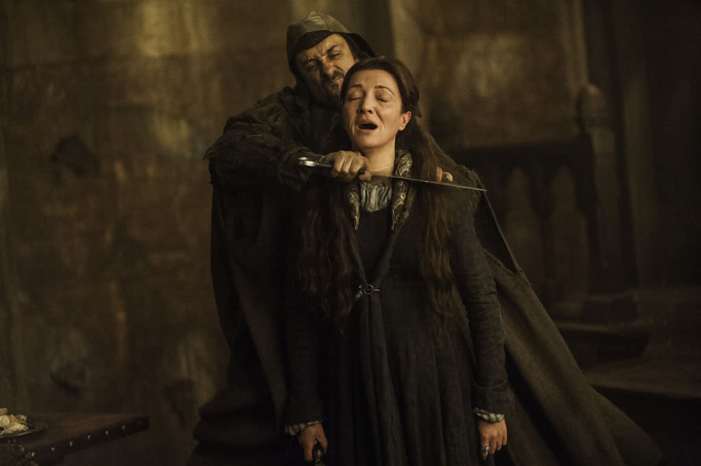 "Tim Plester, Michelle Fairley in the ""Game of Thrones"" episode, ""The Rains of Castamere."""