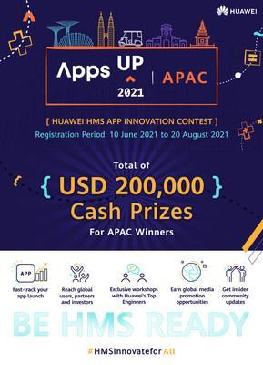 Huawei Mobile Services (HMS) launches AppsUP 2021 app innovation contest with total of US$200,000 cash prizes for Asia Pacific winners. From 10 June to 20 August, developers within the region can register for the contest via the official website (https://bit.ly/appsupapacpr). The submitted apps must be integrated with at least one HMS Core Kit to be eligible.