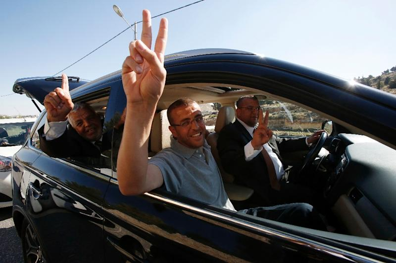 Palestinian journalist Mohammed al-Qiq, pictured on May 19, 2016, following his release from the Israeli Nafha prison, to be detained without trial for six months