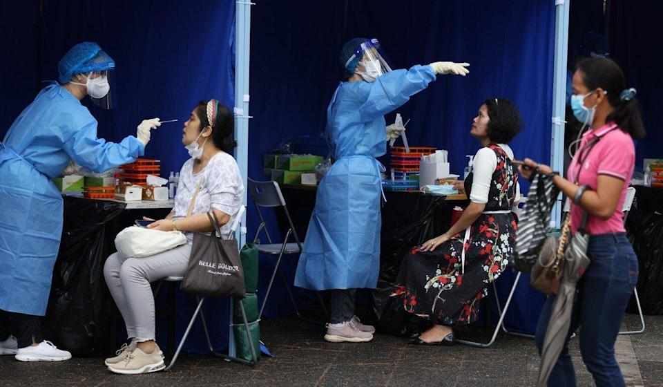 The infection cluster triggered two rounds of mandatory Covid-19 testing for the city's 370,000 domestic helpers. Photo: Nora Tam
