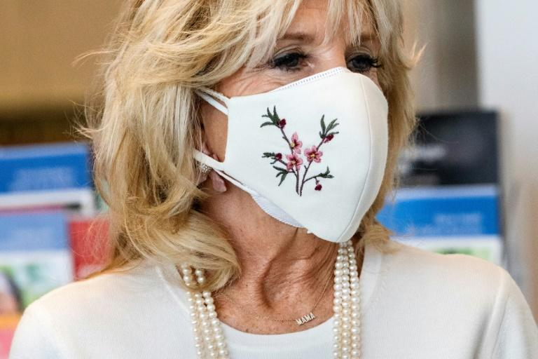 First Lady Jill Biden wore a necklace that spells 'Mama' during a tour of a cancer ward in January 2021
