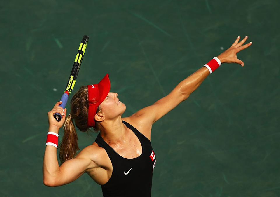 Eugenie Bouchard competes in the Women's singles on day 3 of the Olympics in Rio. (Photo: Getty)