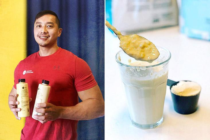 Founder Brian Chia (left). Mixing the smoothie blend with other ingredients to make new beverages (right).