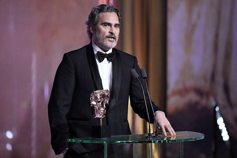 Joaquin Phoenix during his acceptance speech at the BAFTA Awards | James Veysey/BAFTA/Shutterstock