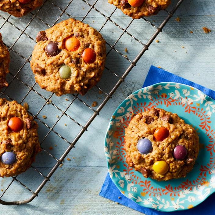 <p>If you thought it wasn't possible to make healthier monster cookies, think again. These peanut butter, oatmeal, chocolate chip and M&M cookies have less butter and sugar than traditional recipes, but they have just as much flavor and tenderness, thanks to more peanut butter. Even better, they're made in one bowl for easy cleanup.</p>