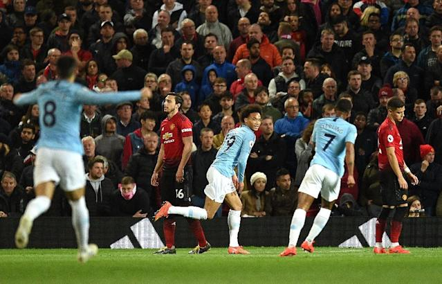 Leroy Sane made sure that City would be celebrating again at Old Trafford (AFP Photo/Oli SCARFF )