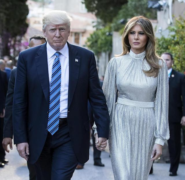 <p>U.S. President Donald J. Trump and first lady Melania Trump arrive at the Greek Theater to attend a concert, on the sideline of the G-7 summit in Taormina, Sicily island, Italy, May 26, 2017. (Photo: Angelo Carconi/EPA) </p>