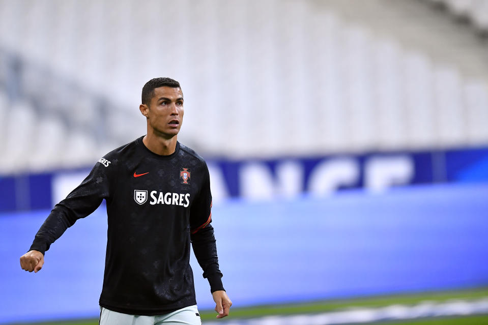 PARIS, FRANCE - OCTOBER 11: Cristiano Ronaldo of Portugal looks on during warmup before the UEFA Nations League group stage match between France and Portugal at Stade de France on October 11, 2020 in Paris, France. (Photo by Aurelien Meunier/Getty Images)