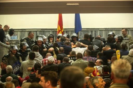 Violence erupts as protesters storm Macedonia parliament