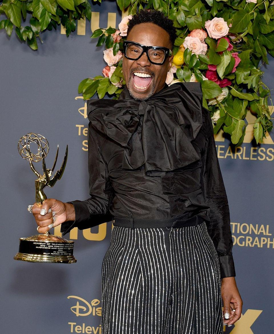 """<p>The actor won an Emmy and celebrated the occasion with a custom monochrome look by Michael Kors and jewellery by Oscar Heyman.</p><p>'The Category Is: LOVE,' he described his win on <a href=""""https://www.instagram.com/p/B2xiAsOlO7i/"""" rel=""""nofollow noopener"""" target=""""_blank"""" data-ylk=""""slk:Instagram"""" class=""""link rapid-noclick-resp"""">Instagram</a>. </p>"""