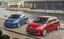 """<p>The <a href=""""https://www.caranddriver.com/kia/rio"""" rel=""""nofollow noopener"""" target=""""_blank"""" data-ylk=""""slk:Kia Rio"""" class=""""link rapid-noclick-resp"""">Kia Rio</a> has more standard features as well as a new engine and transmission this year. Kia has replaced its 130-hp 1.6-liter four-cylinder and six-speed automatic with an all-new 120-hp 1.6-liter four and a CVT automatic. Its power may have decreased, but its fuel efficiency has shot way up. Its EPA ratings are now 33 mpg city and 41 mpg highway, which are up by 5 and 4 mpg, respectively.</p><p>The sharp looking Rio is available in two body styles, a four-door sedan and five-door hatchback. Rio sedans are available in LX and S trim levels, while every hatchback is in the S trim. Both offer a refined ride, agile handling, and a charming interior. Prices start below $17,000 and every model now has a 7.0-inch touchscreen with Apple CarPlay and Android Auto capability. The S model adds a center armrest, cruise control, a rear USB outlet, split-folding rear seat with adjustable headrests, and keyless entry but only costs about $700 more.</p>"""