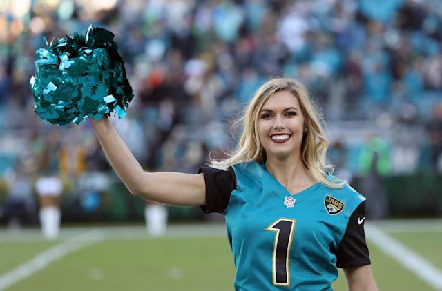<p>A Jacksonville Jaguars cheerleader performs on the field prior to the start of their game against the Seattle Seahawks at EverBank Field on December 10, 2017 in Jacksonville, Florida. (Photo by Sam Greenwood/Getty Images) </p>