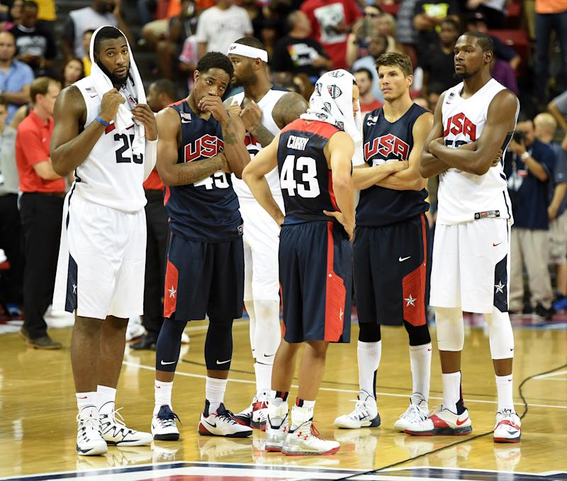 2014 USA Basketball Men's National Team players, seen during a showcase game at the Thomas & Mack Center in Las Vegas, Nevada, on August 1, 2014