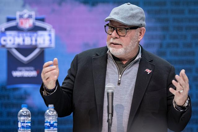 Tampa Bay Buccaneers coach Bruce Arians announced on Wednesday that he has hired two women as full-time assistants on his staff. (Getty Images)