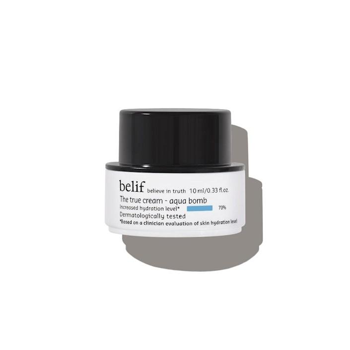 """Why you'll love it: This K-beauty staple has a light gel-like formula that absorbs in seconds, gives skin a rush of hydration, and helps it look smooth. It's got calming ingredients, including calendula and oat kernel extracts. How you'll use it: It is perfect for layering — over serum, essence, or toner, and under sunscreen — because it is so light. """"I've lost count of how many times I've restocked my beloved Belif moisturizer. In the past couple of years, I've gone back to it over and over again. And the natural lemongrass scent is so soothing, I wish it came in a candle."""" — Devon Abelman *You will receive Belif The True Cream Aqua Bomb or Moisturizing Bomb in your box depending on your member history. +Subscribe now+"""