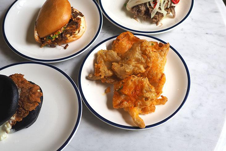 Fried oyster mushrooms make a nice, crispy side item with the baos