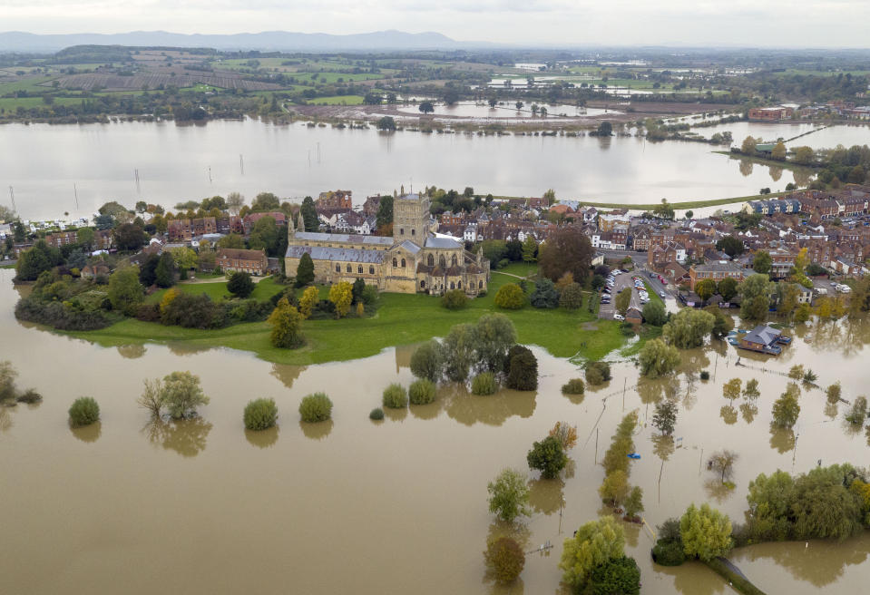 An aerial view of flooding around Tewkesbury Abbey, in Tewkesbury, Gloucestershire, as the UK has been hit by widespread flooding after rivers burst their banks following the weekend???s heavy rain.
