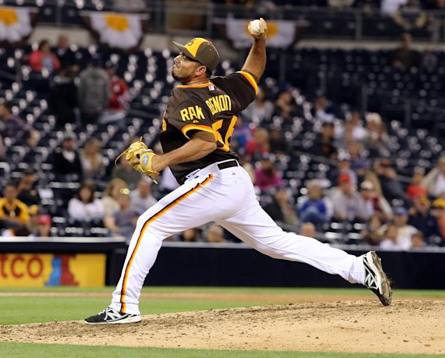 San Diego Padres pitcher Joaquin Benoit pitches in the ninth inning of baseball game against the Chicago Cubs Friday, May 23, 2014, in San Diego. Padres won the game 11-1. (AP Photo/Don Boomer)