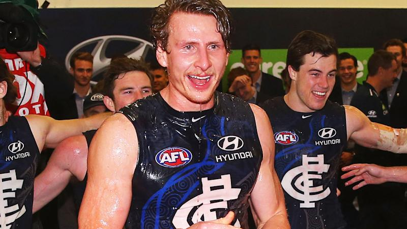 Daniel Gorringe, pictured here after an AFL game with Carlton in 2016.