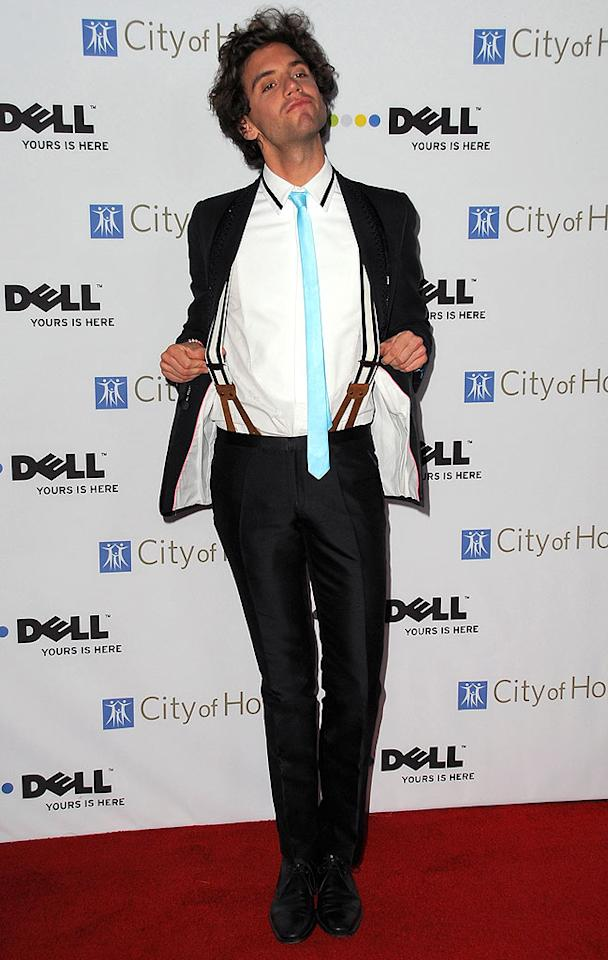 "Mika showed off his sexy suspenders, bright blue tie, and goofy sense of humor. Jordan Strauss/a href=""http://www.wireimage.com"" target=""new"">WireImage.com - October 15, 2008"