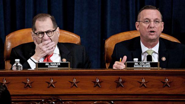 PHOTO: Representative Doug Collins, ranking member of the House Judiciary Committee, right, speaks as chairman Representative Jerry Nadler, left, yawns during a hearing about impeachment articles in Washington, D.C., Dec. 12, 2019. (Andrew Harrer/Pool via Reuters)