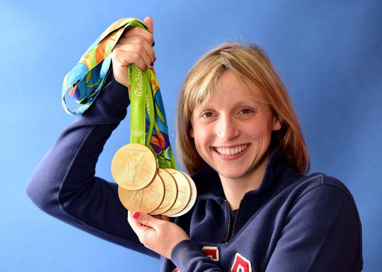 Katie Ledecky won four golds and a silver medal at the 2016 Rio Olympics. (Getty)