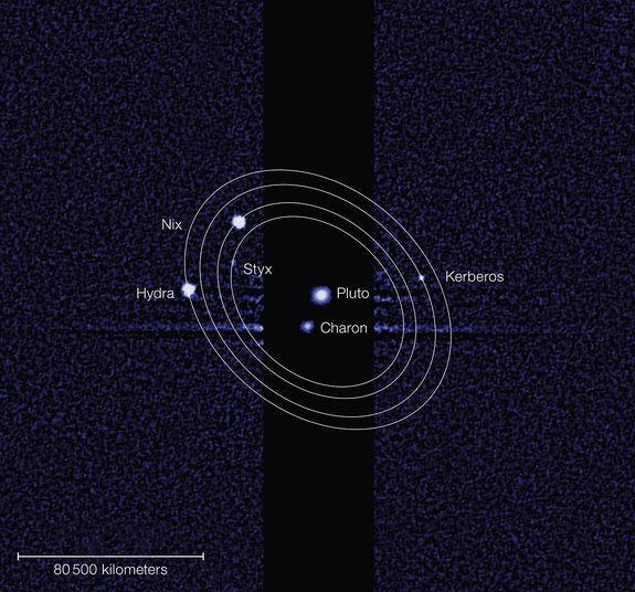 The International Astronomical Union has officially approved Kerberus and Styx as the new names for two of Pluto's moons. Image released on July 2, 2013.