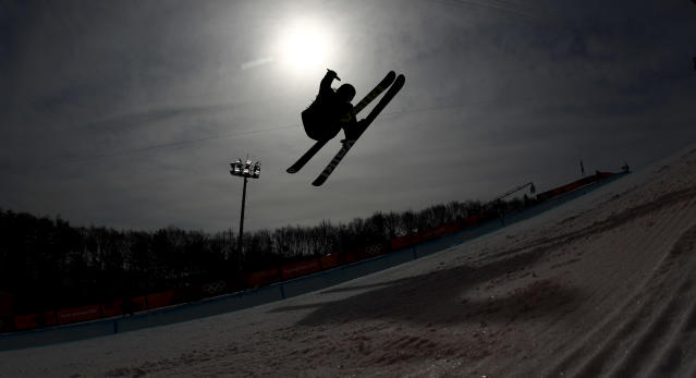 <p>Elisabeth Gram, of Austria, runs the course during the women's halfpipe qualifying at Phoenix Snow Park at the 2018 Winter Olympics in Pyeongchang, South Korea, Monday, Feb. 19, 2018. (AP Photo/Charlie Riedel) </p>