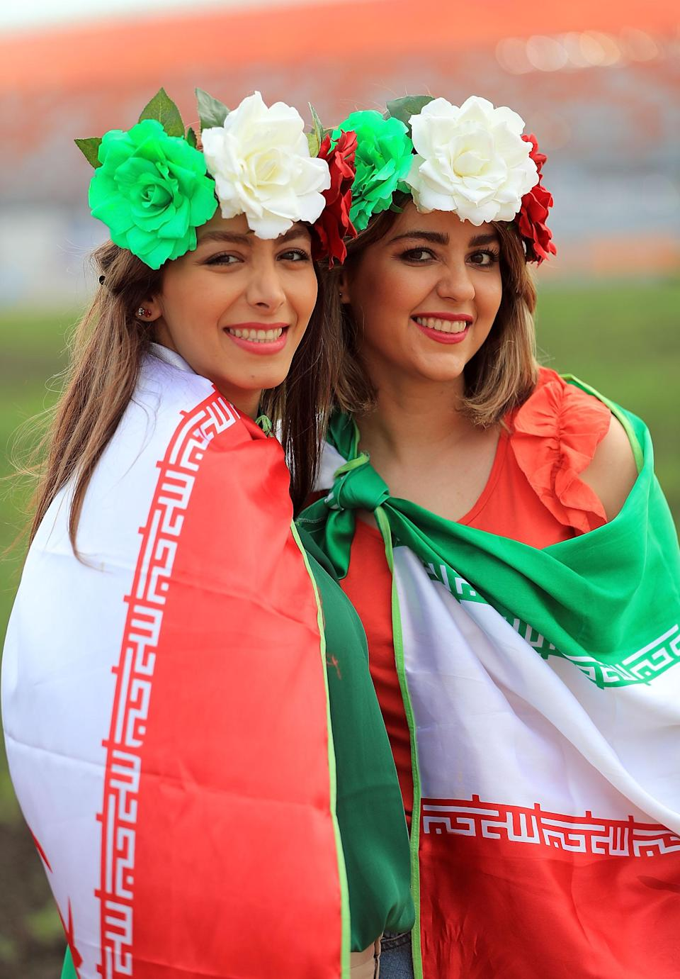 <p>Iranian fans before the 2018 FIFA World Cup Russia group B match between Iran and Portugal at Mordovia Arena on June 25, 2018 in Saransk, Russia. (Photo by Amin Mohammad Jamali/Getty Images) </p>