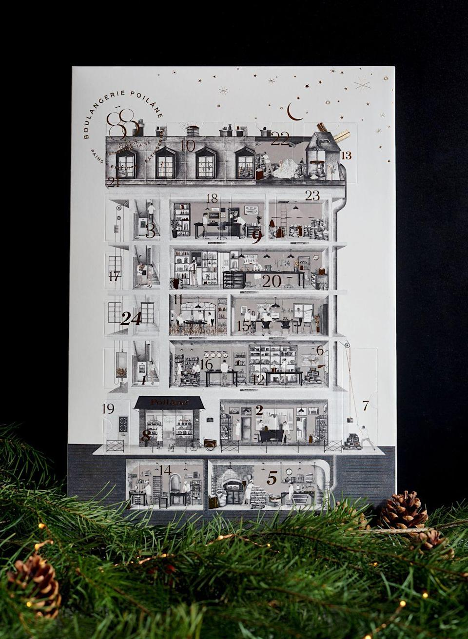 """<p>There are more French treats from bakery Poilane, who launched their first ever advent calendar last year. Thankfully, they've brought it back for 2020, and filled each window with beautiful biscuits, chocolate and nougat for the discerning snacker. The illustration by Axel Charrier is a sweet tribute to their original bakery in Saint-Germain-des-Prés. £32, <a href=""""https://shop.poilane.com/"""" rel=""""nofollow noopener"""" target=""""_blank"""" data-ylk=""""slk:shop.poilane.com"""" class=""""link rapid-noclick-resp"""">shop.poilane.com</a></p>"""