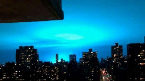 Neon blue sky in NY  allegedly caused by transformer explosion