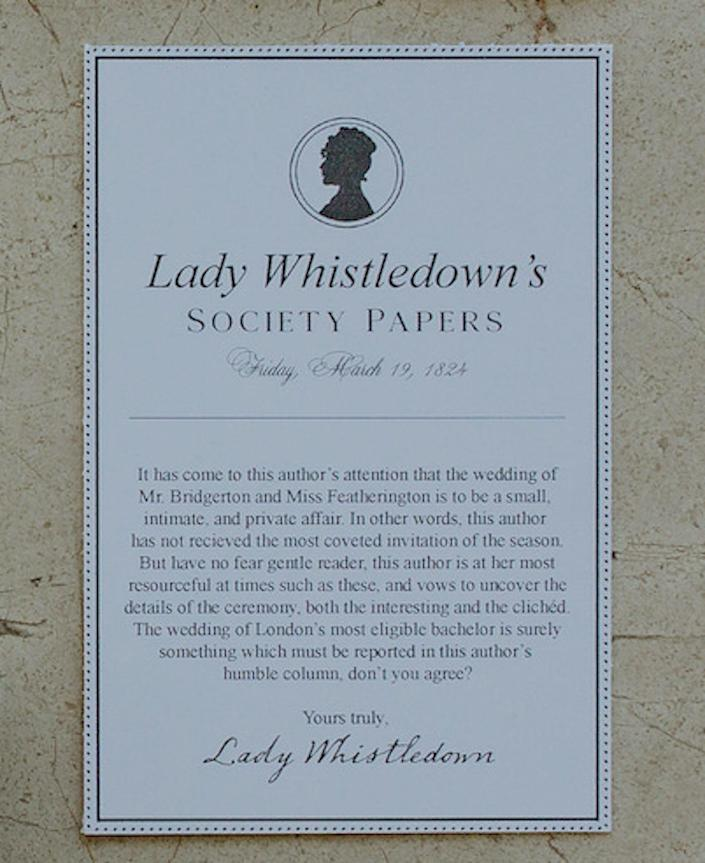 A piece of paper with a Lady Whistledown wedding announcement written on it.