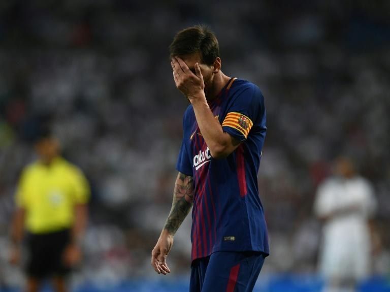 Barcelona's Argentinian forward Lionel Messi gestures during the second leg of the Spanish Supercup football match against Real Madrid August 16, 2017