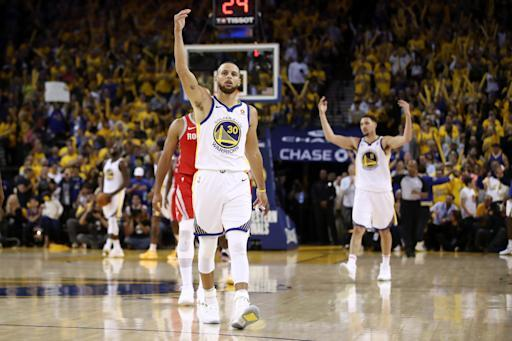 OAKLAND, CA - MAY 20: Stephen Curry #30 of the Golden State Warriors reacts after a play against the Houston Rockets during Game Three of the Western Conference Finals of the 2018 NBA Playoffs at ORACLE Arena on May 20, 2018 in Oakland, California. (Photo by Ezra Shaw/Getty Images)