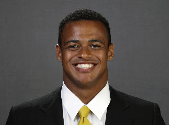 This Aug. 10, 2018, photo provided by University of Iowa Athletics shows Noah Fant. Fant is a possible pick in the 2019 NFL Draft. (Brian Ray/University of Iowa Athletics via AP)