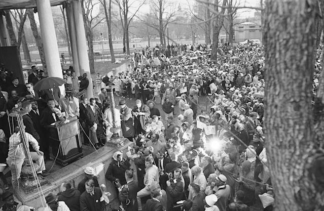 Dr. Martin Luther King Jr. addresses civil rights marchers on historic Boston Common April 23, 1965 after a demonstration to protest segregation in schools, jobs and housing. (Photo: AP)