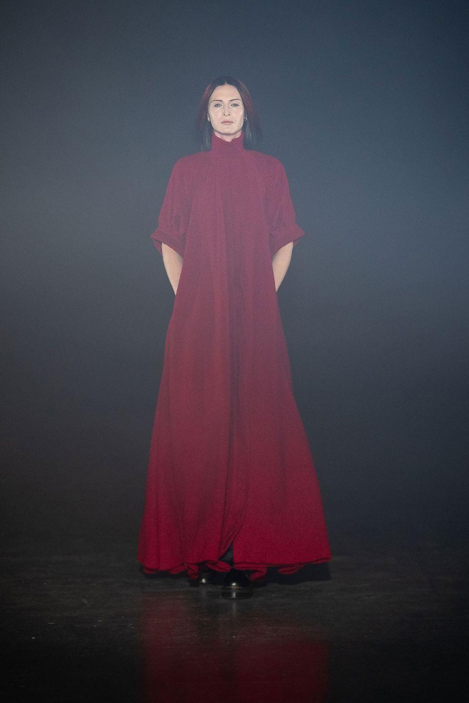 """<p>Fashion isn't always democratic, but Art School's Eden Loweth is firmly of the camp that, while not exactly one-size-fits-all, inclusivity must have a seat at the table. The aim was to make clothes """"tolerant and easy to wear for all bodies and genders,"""" an order achieved by beautiful dresses cut on the bias, draping, and expert tailoring (and supported by the phenomenally diverse casting spearheaded by the organizers at London Trans Pride). With sweeping gowns and spots of sparkle, there's definitely some drama, but it's what one might call """"daytime drama""""—pieces that are meant to be worn and mixed in with real life. Every life.<em>—Leah Melby Clinton</em></p>"""