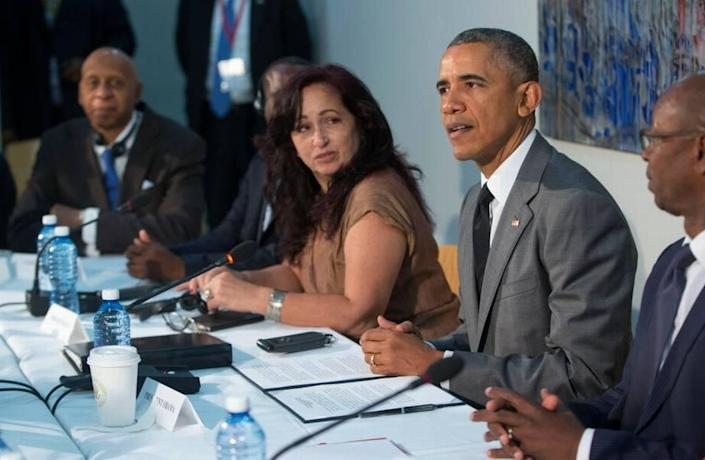 Cuban acitivist Miriam Celaya, center, met with President Barack Obama at the U.S. Embassy in Havana when he visited the island in March 2016. Celaya's niece was arrested by Cuban authorities after the July 11 protests.