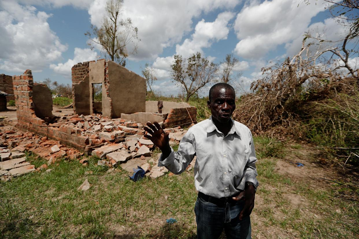 Joao Jofresse Ngira, 59, in front of his damaged house in the aftermath of Cyclone Idai, March 31, 2019. (Photo: Zohra Bensemra/Reuters)
